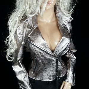 BLANK NYC PEWTER METALLIC MOTO BIKER COAT JACKET